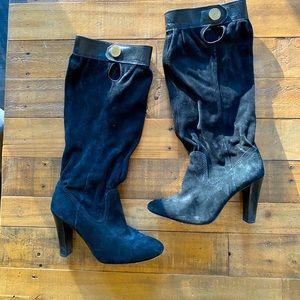Michael Kors black tall suede scrunch boots